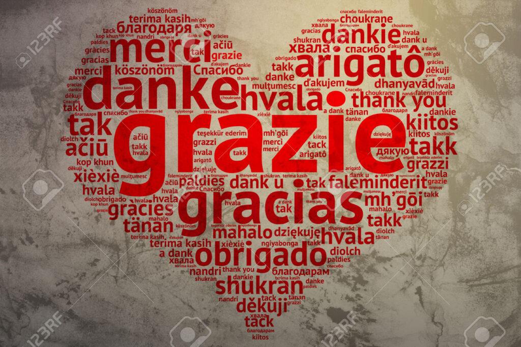 un cuore con scritto grazie in tutte le lingue del mondo