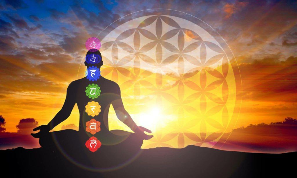 un disegno di un uomo seduto a gambe incrociate sullo sfondo di un tramonto. L'uomo ha nel corpo i 7 fiori di loto dei 7 chakra e dietro un grande cerchio del fiore della vita