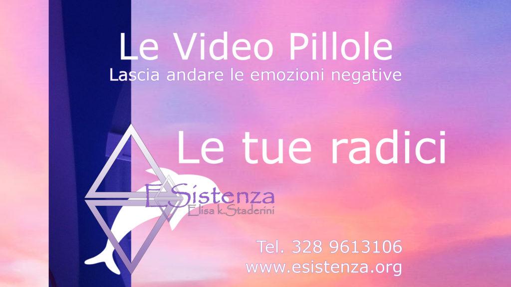 Pillole di ESistenza: video per ritrovare il benessere attraverso la trasformazione delle emozioni. sfondo rosa con logo due triangoli e un delfino bianco