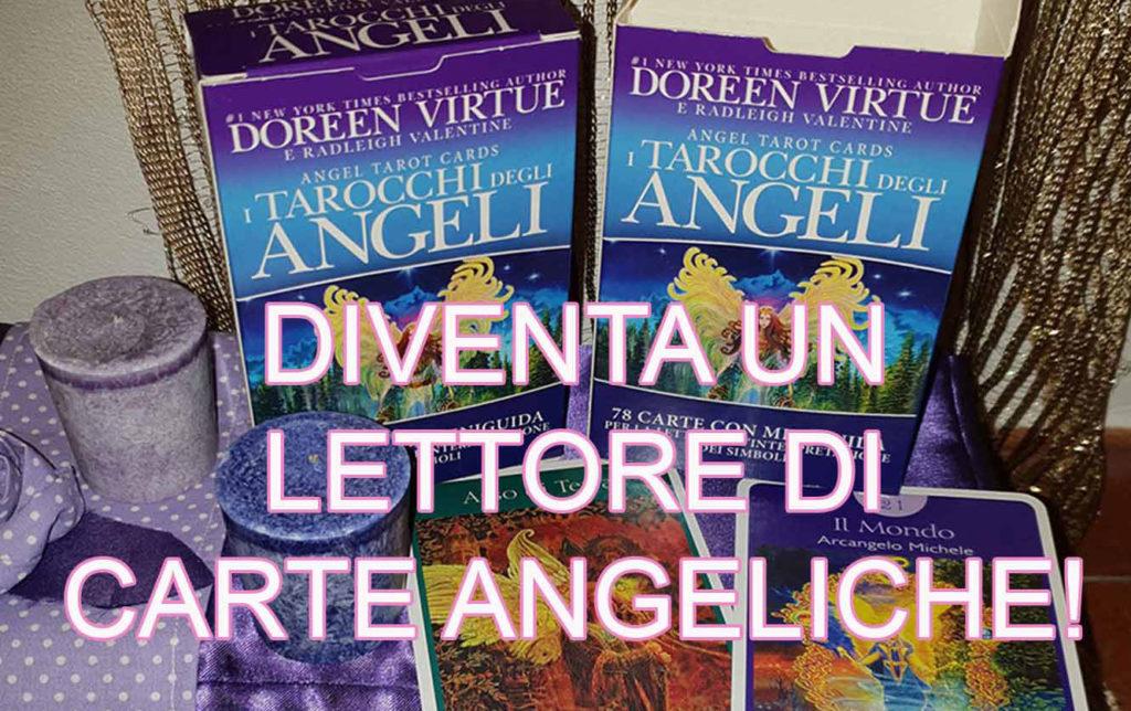 alcuni mazzi di tarocchi degli angeli con in primo piano la scritta: diventa un lettore di carte angeliche
