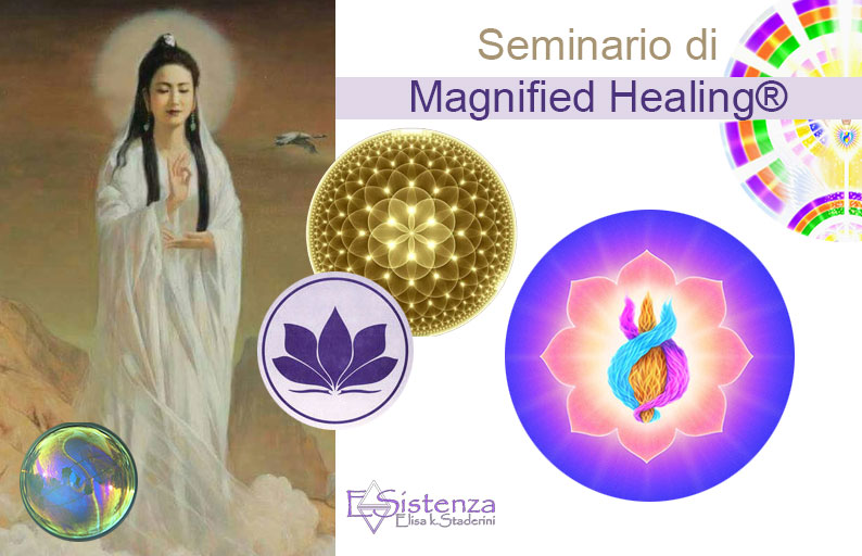 Magnified Healing ®Kwan Yin e sfere colorate con la triplice fiamma e la presenza io sono