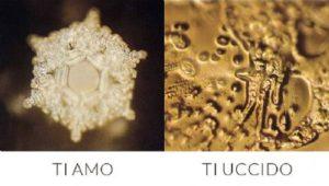 cristallo d'acqua simmetrico e cristallo amorfo, masaru emoto