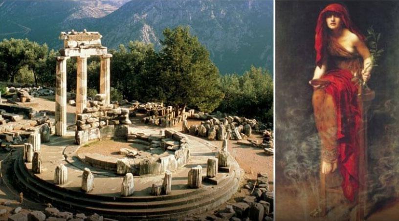 Il tempio di Apollo a Delphi e una Pizia, Oracolo seduta con un panno rosso
